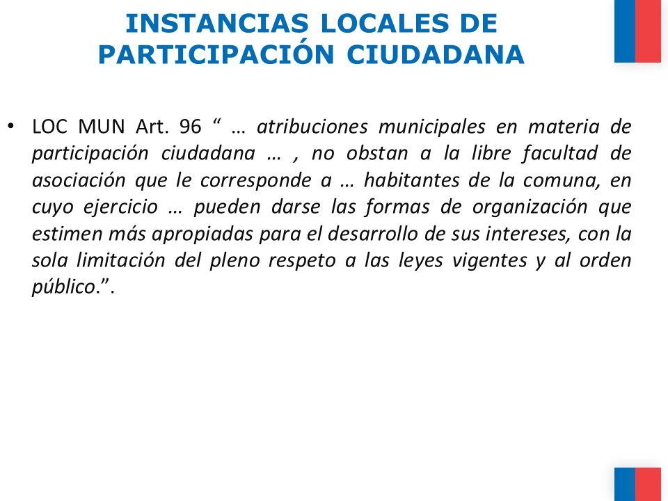 INSTANCIAS LOCALES DE PARTICIPACIÓN CIUDADANA LOC MUN Art. 96 … atribuciones municipales en materia de participación ciudadana …, no obstan a la libre