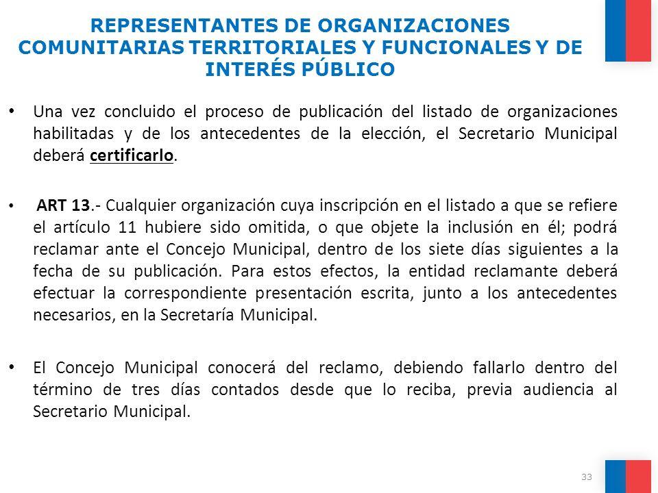 Una vez concluido el proceso de publicación del listado de organizaciones habilitadas y de los antecedentes de la elección, el Secretario Municipal de