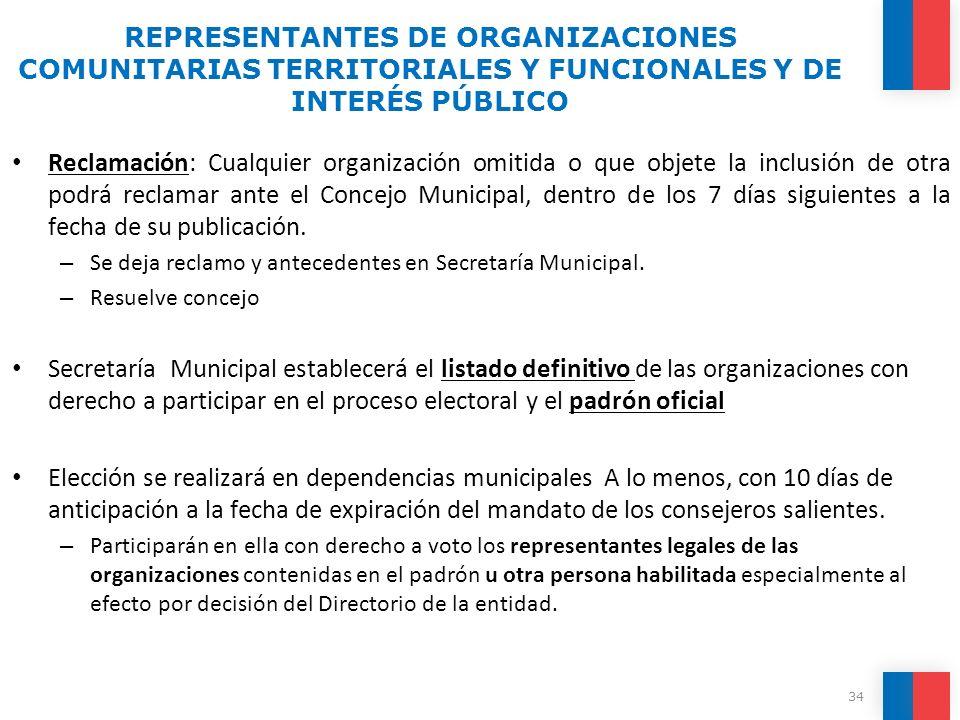 Reclamación: Cualquier organización omitida o que objete la inclusión de otra podrá reclamar ante el Concejo Municipal, dentro de los 7 días siguiente