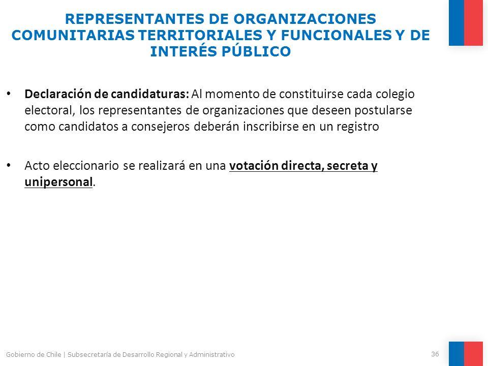 Declaración de candidaturas: Al momento de constituirse cada colegio electoral, los representantes de organizaciones que deseen postularse como candid