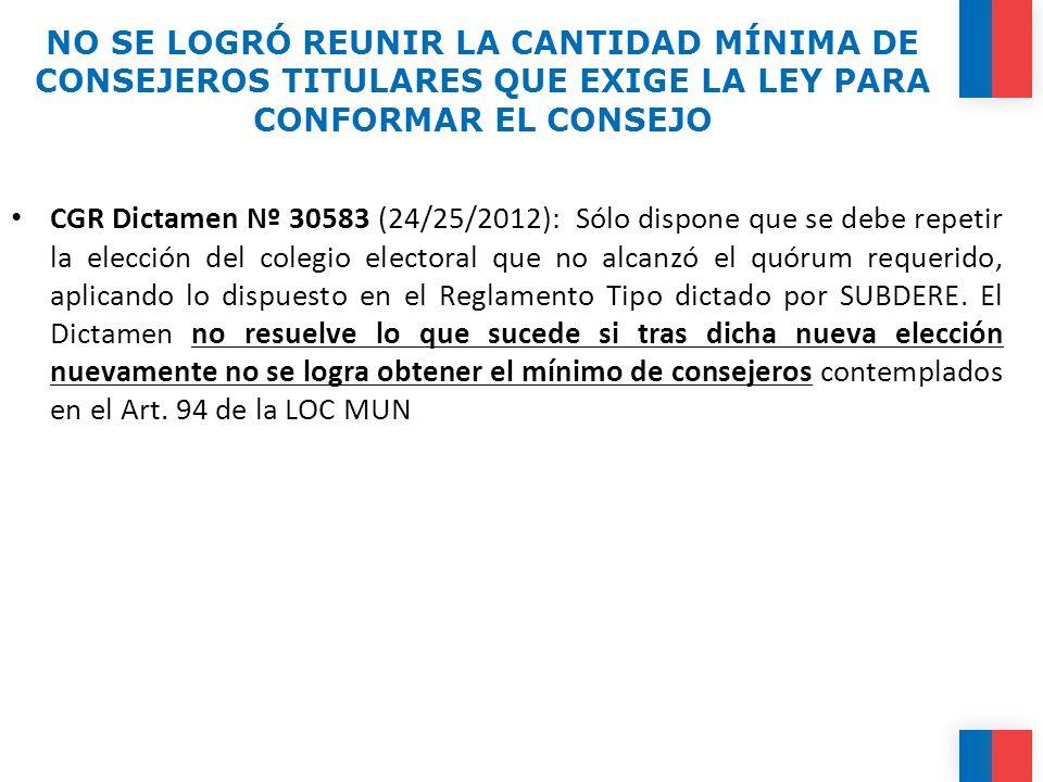 NO SE LOGRÓ REUNIR LA CANTIDAD MÍNIMA DE CONSEJEROS TITULARES QUE EXIGE LA LEY PARA CONFORMAR EL CONSEJO CGR Dictamen Nº 30583 (24/25/2012): Sólo disp
