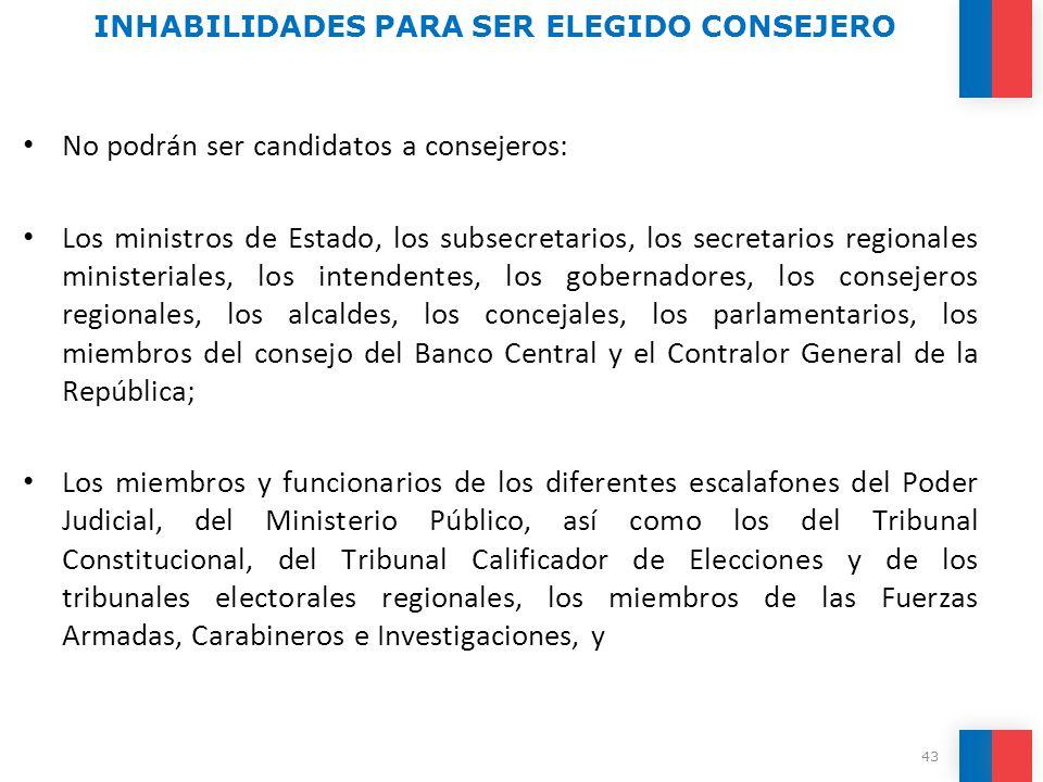 No podrán ser candidatos a consejeros: Los ministros de Estado, los subsecretarios, los secretarios regionales ministeriales, los intendentes, los gob