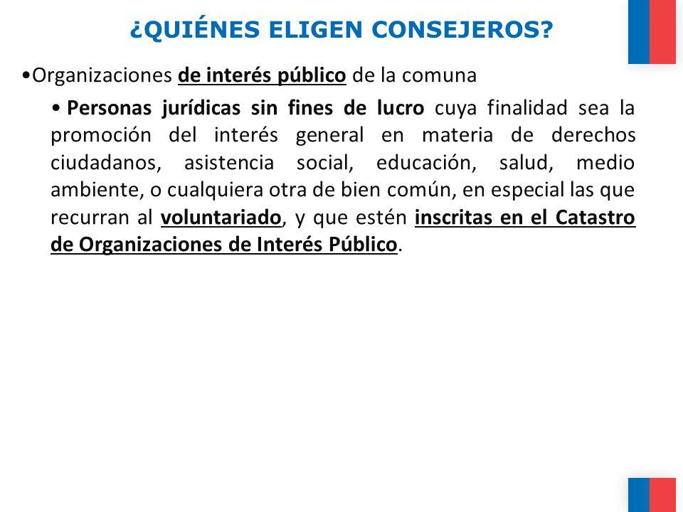 ¿QUIÉNES ELIGEN CONSEJEROS? Organizaciones de interés público de la comuna Personas jurídicas sin fines de lucro cuya finalidad sea la promoción del i