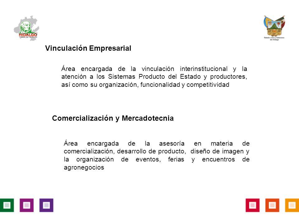Vinculación Empresarial Área encargada de la vinculación interinstitucional y la atención a los Sistemas Producto del Estado y productores, así como su organización, funcionalidad y competitividad Comercialización y Mercadotecnia Área encargada de la asesoría en materia de comercialización, desarrollo de producto, diseño de imagen y la organización de eventos, ferias y encuentros de agronegocios