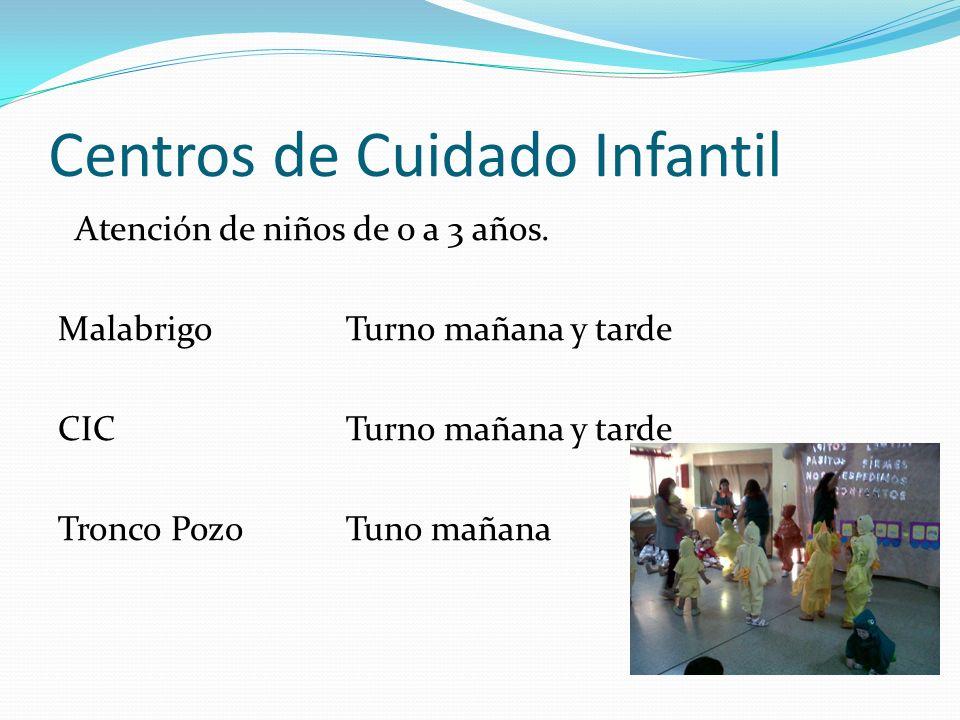 Centros de Cuidado Infantil Atención de niños de 0 a 3 años. MalabrigoTurno mañana y tarde CIC Turno mañana y tarde Tronco PozoTuno mañana