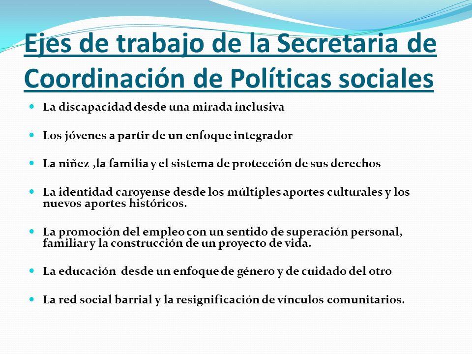 Ejes de trabajo de la Secretaria de Coordinación de Políticas sociales La discapacidad desde una mirada inclusiva Los jóvenes a partir de un enfoque i