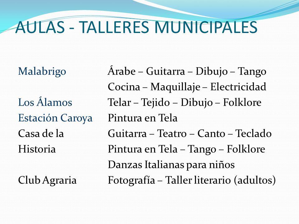 AULAS - TALLERES MUNICIPALES MalabrigoÁrabe – Guitarra – Dibujo – Tango Cocina – Maquillaje – Electricidad Los ÁlamosTelar – Tejido – Dibujo – Folklor