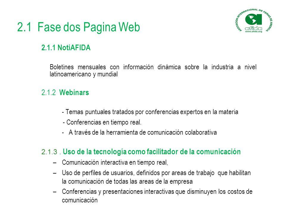 2.1 Fase dos Pagina Web 2.1.1 NotiAFIDA Boletines mensuales con información dinámica sobre la industria a nivel latinoamericano y mundial 2.1.2 Webinars - Temas puntuales tratados por conferencias expertos en la materia - Conferencias en tiempo real.