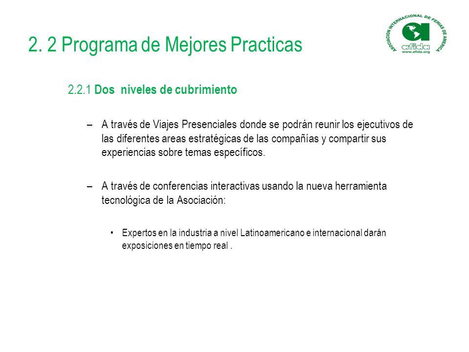 2. 2 Programa de Mejores Practicas 2.2.1 Dos niveles de cubrimiento –A través de Viajes Presenciales donde se podrán reunir los ejecutivos de las dife