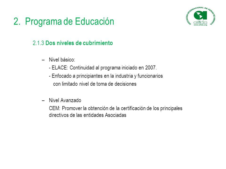 2. Programa de Educación 2.1.3 Dos niveles de cubrimiento –Nivel básico: - ELACE: Continuidad al programa iniciado en 2007. - Enfocado a principiantes