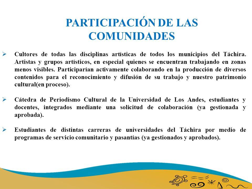 PARTICIPACIÓN DE LAS COMUNIDADES Cultores de todas las disciplinas artísticas de todos los municipios del Táchira.
