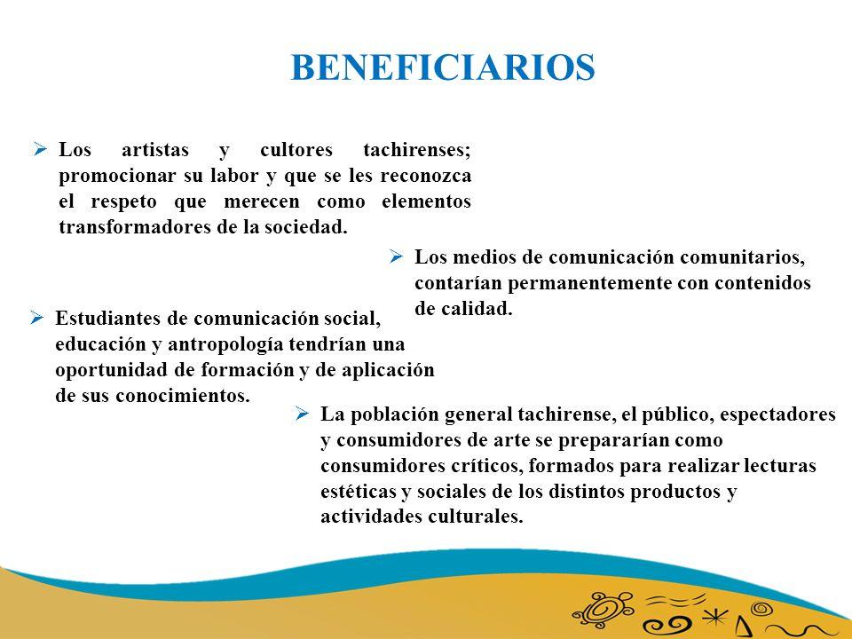 BENEFICIARIOS Los artistas y cultores tachirenses; promocionar su labor y que se les reconozca el respeto que merecen como elementos transformadores de la sociedad.