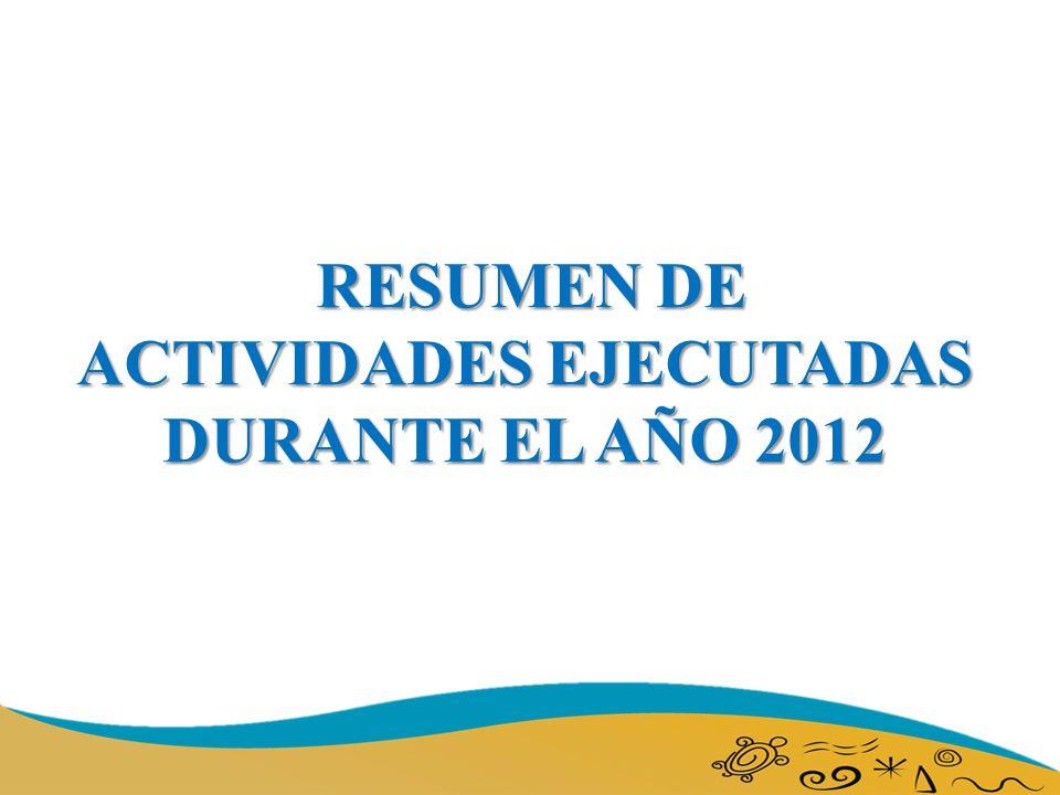 RESUMEN DE ACTIVIDADES EJECUTADAS DURANTE EL AÑO 2012 RESUMEN DE ACTIVIDADES EJECUTADAS DURANTE EL AÑO 2012