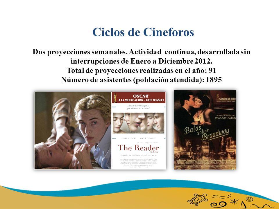 Ciclos de Cineforos Dos proyecciones semanales.
