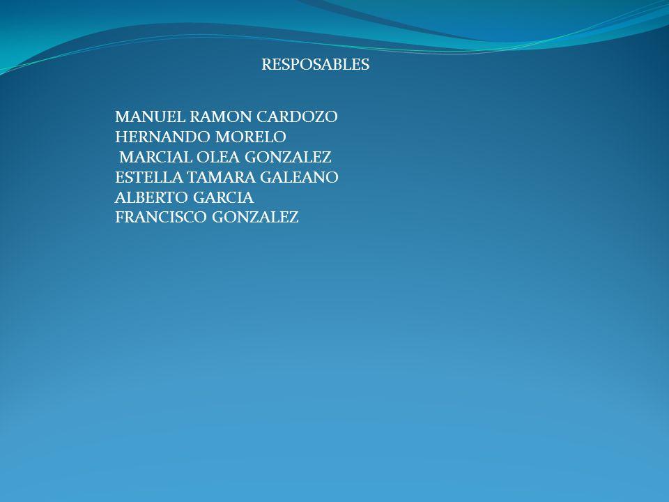 RESPOSABLES MANUEL RAMON CARDOZO HERNANDO MORELO MARCIAL OLEA GONZALEZ ESTELLA TAMARA GALEANO ALBERTO GARCIA FRANCISCO GONZALEZ