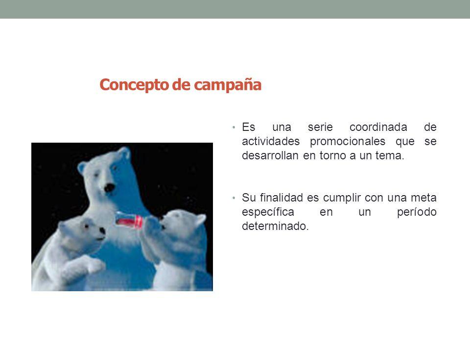 10 Concepto de campaña Es una serie coordinada de actividades promocionales que se desarrollan en torno a un tema. Su finalidad es cumplir con una met