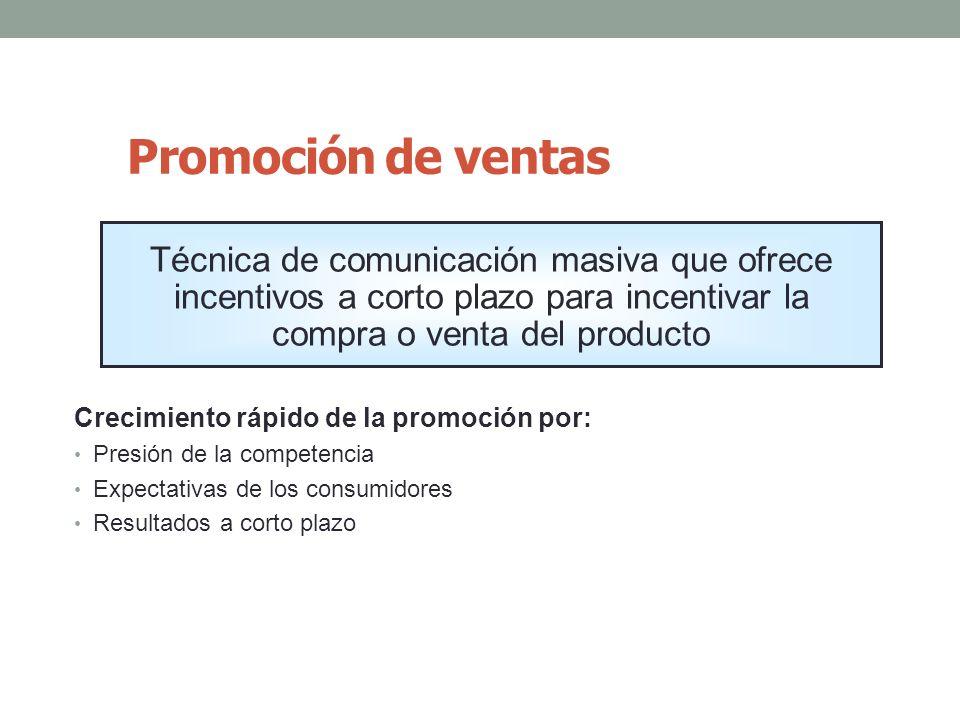 Promoción de ventas Crecimiento rápido de la promoción por: Presión de la competencia Expectativas de los consumidores Resultados a corto plazo Técnic