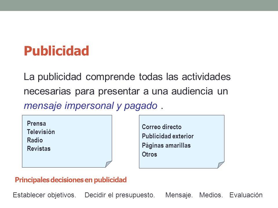 Publicidad La publicidad comprende todas las actividades necesarias para presentar a una audiencia un mensaje impersonal y pagado. Correo directo Publ