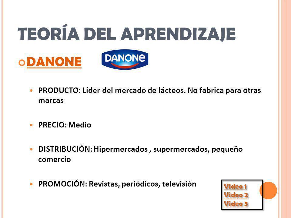 TEORÍA DEL APRENDIZAJE DANONE PRODUCTO: Líder del mercado de lácteos. No fabrica para otras marcas PRECIO: Medio DISTRIBUCIÓN: Hipermercados, supermer