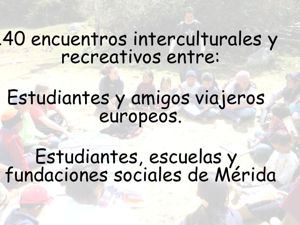 140 encuentros interculturales y recreativos entre: Estudiantes y amigos viajeros europeos. Estudiantes, escuelas y fundaciones sociales de Mérida
