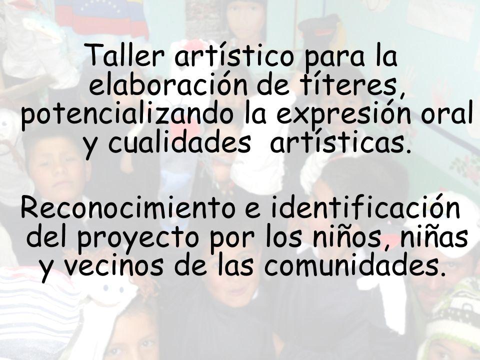 Taller artístico para la elaboración de títeres, potencializando la expresión oral y cualidades artísticas. Reconocimiento e identificación del proyec