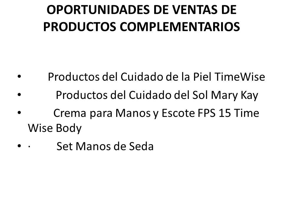 OPORTUNIDADES DE VENTAS DE PRODUCTOS COMPLEMENTARIOS Productos del Cuidado de la Piel TimeWise Productos del Cuidado del Sol Mary Kay Crema para Manos y Escote FPS 15 Time Wise Body · Set Manos de Seda