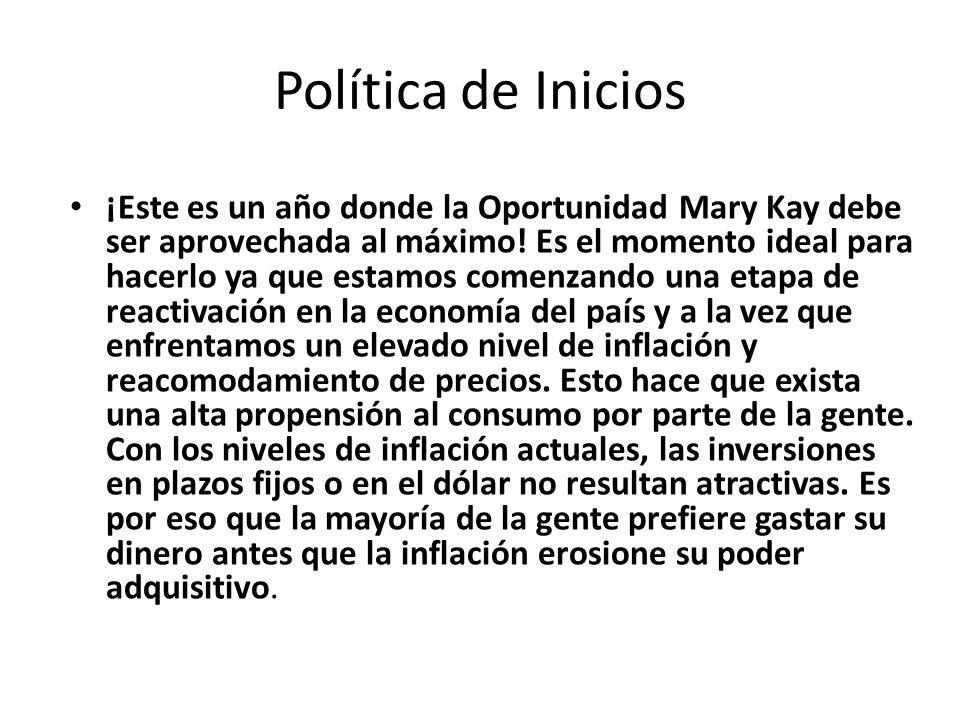 Política de Inicios ¡Este es un año donde la Oportunidad Mary Kay debe ser aprovechada al máximo! Es el momento ideal para hacerlo ya que estamos come