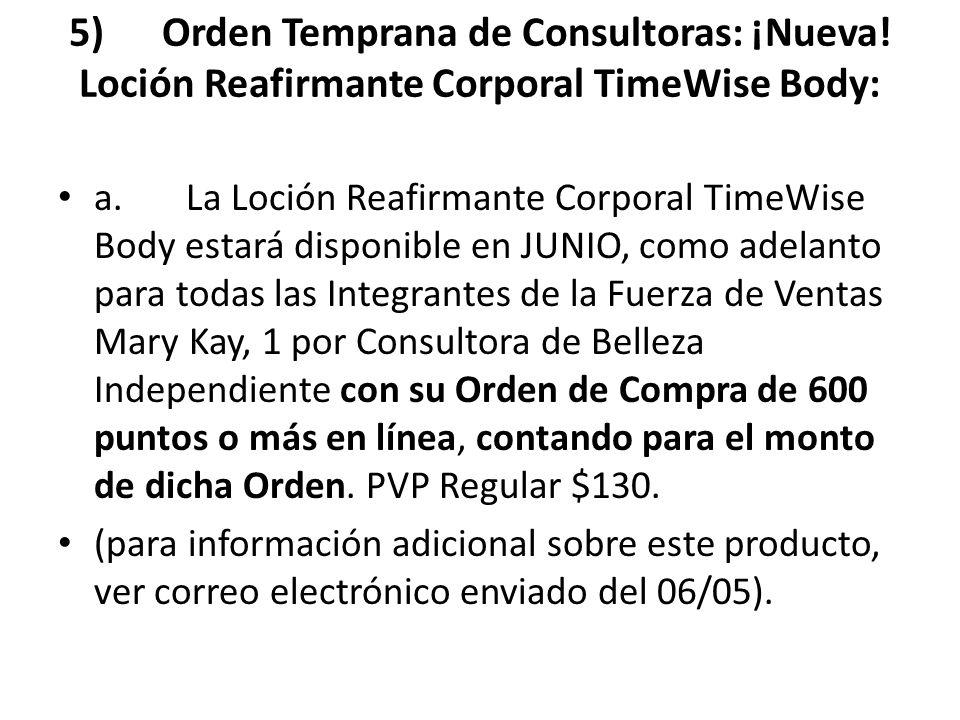 5) Orden Temprana de Consultoras: ¡Nueva! Loción Reafirmante Corporal TimeWise Body: a. La Loción Reafirmante Corporal TimeWise Body estará disponible