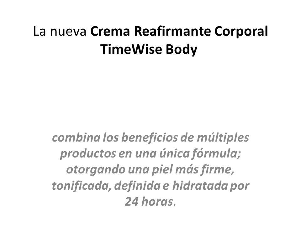 La nueva Crema Reafirmante Corporal TimeWise Body combina los beneficios de múltiples productos en una única fórmula; otorgando una piel más firme, tonificada, definida e hidratada por 24 horas.