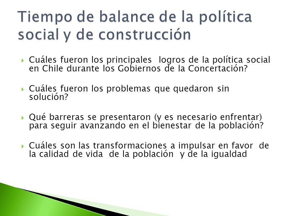Cuáles fueron los principales logros de la política social en Chile durante los Gobiernos de la Concertación? Cuáles fueron los problemas que quedaron
