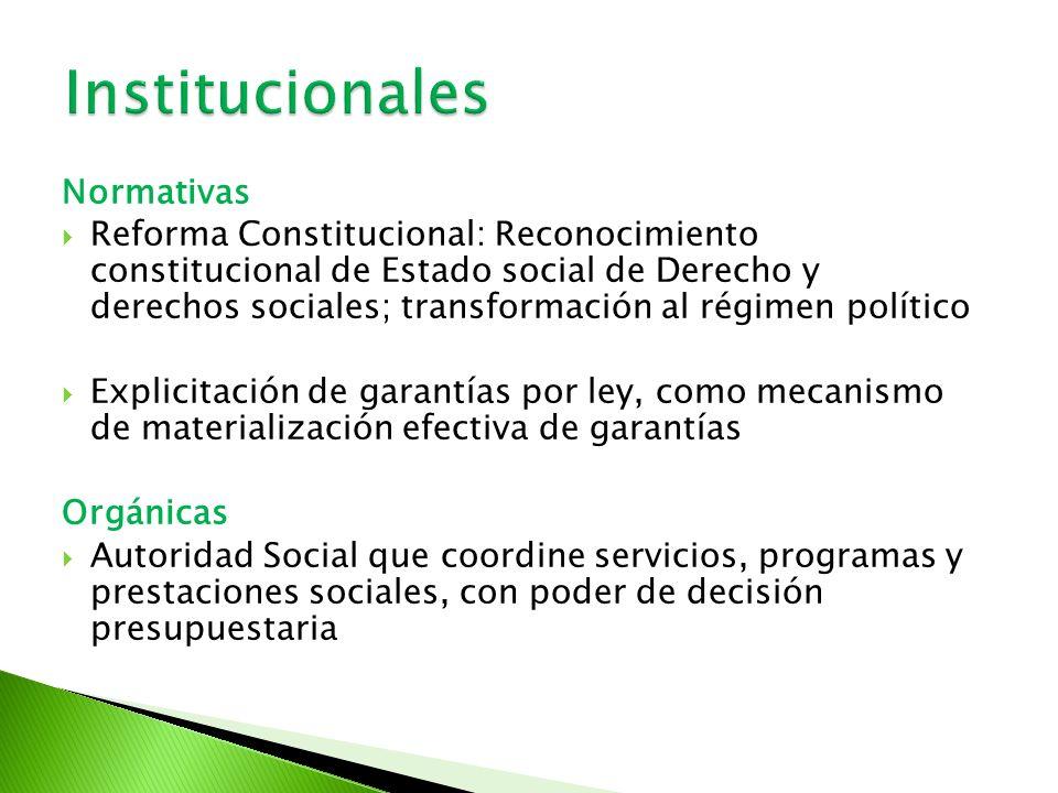 Normativas Reforma Constitucional: Reconocimiento constitucional de Estado social de Derecho y derechos sociales; transformación al régimen político E