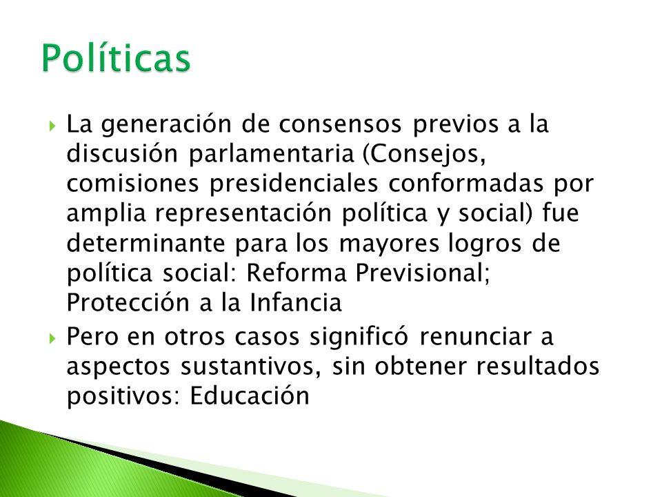 La generación de consensos previos a la discusión parlamentaria (Consejos, comisiones presidenciales conformadas por amplia representación política y