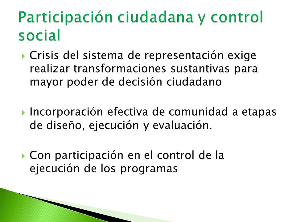 Crisis del sistema de representación exige realizar transformaciones sustantivas para mayor poder de decisión ciudadano Incorporación efectiva de comu