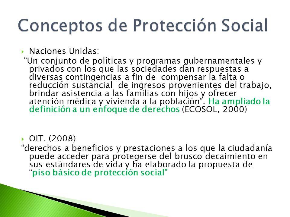 Naciones Unidas: Un conjunto de políticas y programas gubernamentales y privados con los que las sociedades dan respuestas a diversas contingencias a