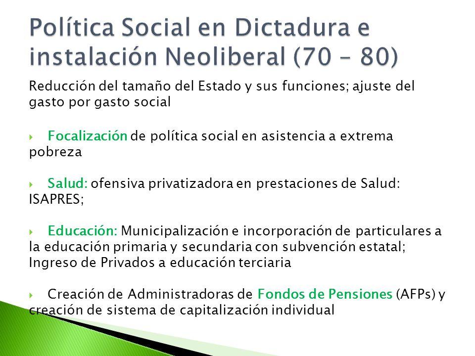 Reducción del tamaño del Estado y sus funciones; ajuste del gasto por gasto social Focalización de política social en asistencia a extrema pobreza Sal