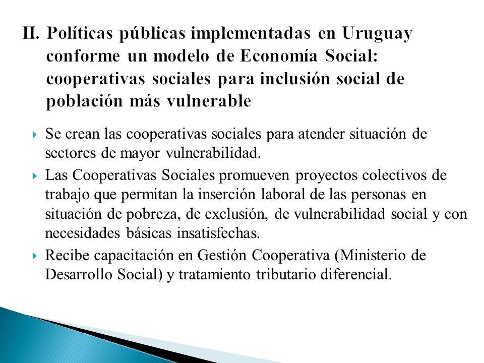 Se crean las cooperativas sociales para atender situación de sectores de mayor vulnerabilidad.