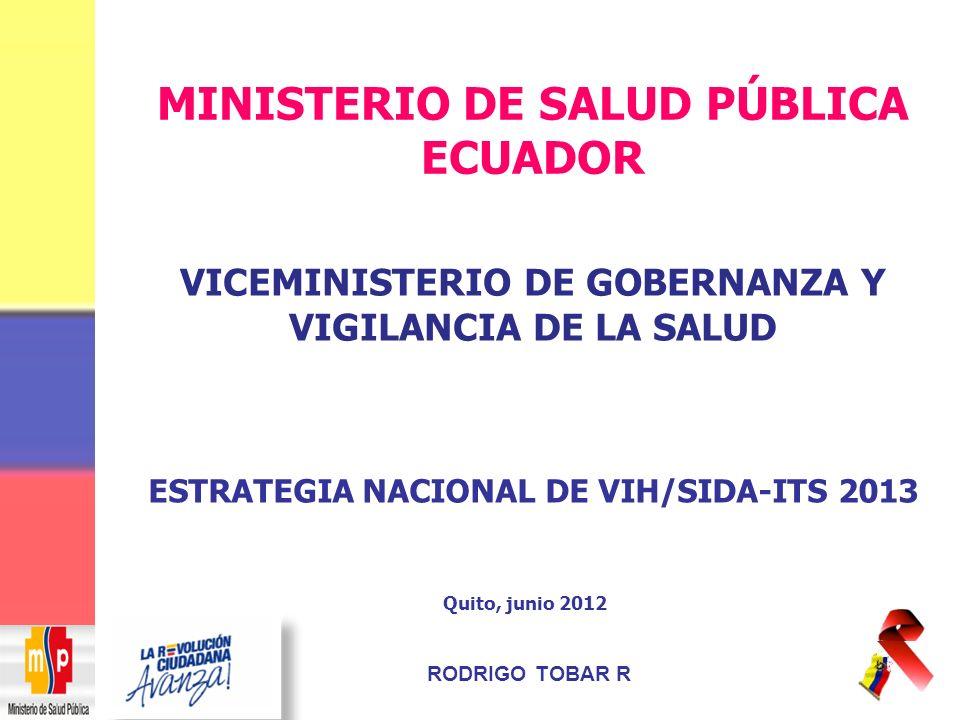 ESTRATEGIA NACIONAL DE VIH/SIDA-ITS 2013 Quito, junio 2012 VICEMINISTERIO DE GOBERNANZA Y VIGILANCIA DE LA SALUD RODRIGO TOBAR R MINISTERIO DE SALUD PÚBLICA ECUADOR