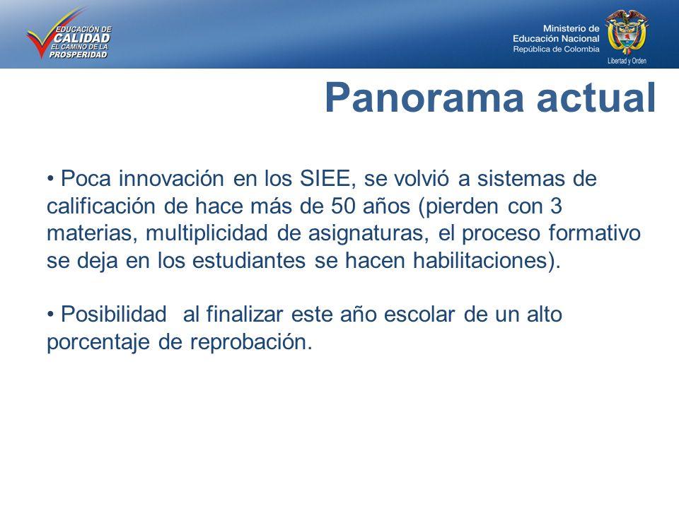 Poca innovación en los SIEE, se volvió a sistemas de calificación de hace más de 50 años (pierden con 3 materias, multiplicidad de asignaturas, el proceso formativo se deja en los estudiantes se hacen habilitaciones).