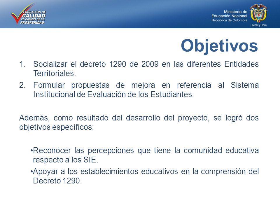 1.Socializar el decreto 1290 de 2009 en las diferentes Entidades Territoriales.