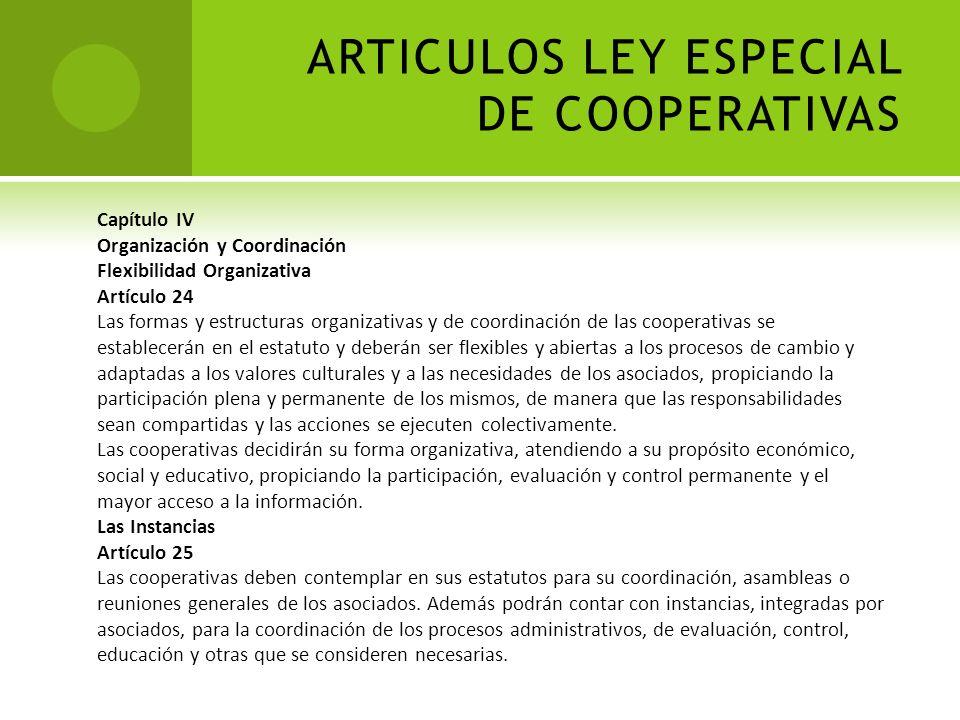 ARTICULOS LEY ESPECIAL DE COOPERATIVAS Formalidad y Trámite Artículo 10 La reunión constitutiva de los asociados fundadores, decidirá quién o quiénes