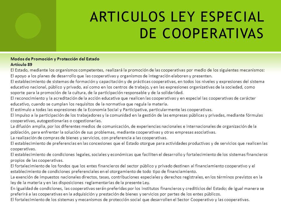 ARTICULOS LEY ESPECIAL DE COOPERATIVAS Promoción de las Cooperativas Artículo 88 La promoción de las cooperativas será principalmente responsabilidad
