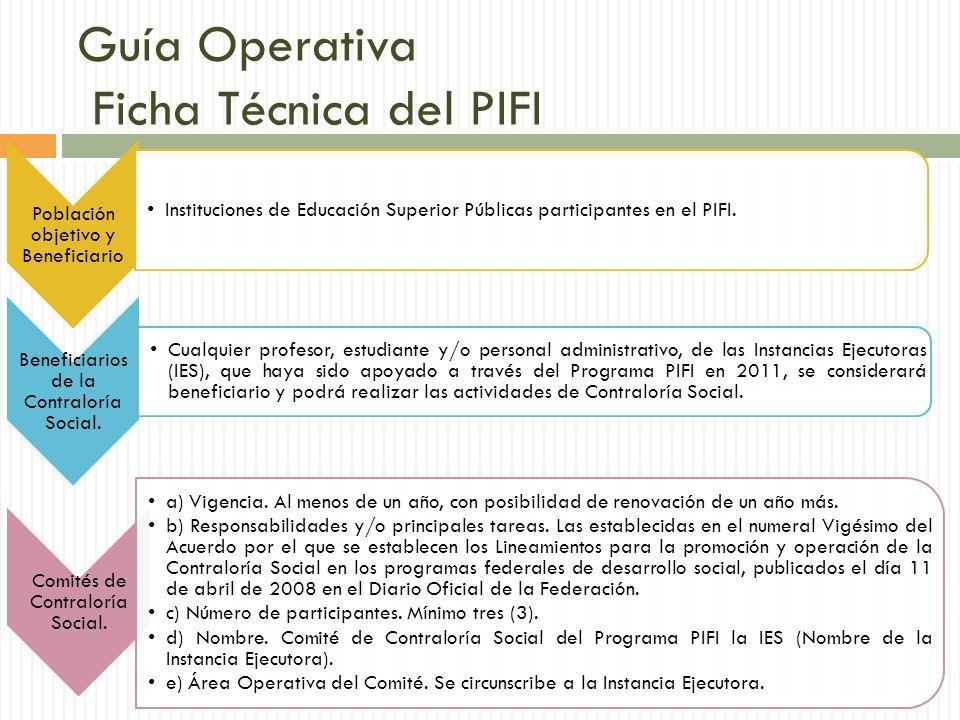 Guía Operativa Ficha Técnica del PIFI Población objetivo y Beneficiario Instituciones de Educación Superior Públicas participantes en el PIFI.