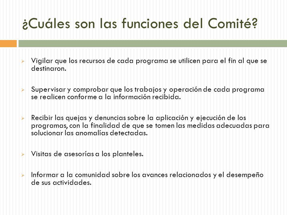 ¿Cuáles son las funciones del Comité.