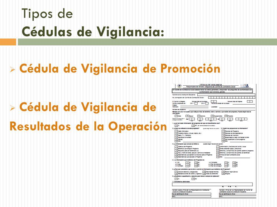 Tipos de Cédulas de Vigilancia: Cédula de Vigilancia de Promoción Cédula de Vigilancia de Resultados de la Operación