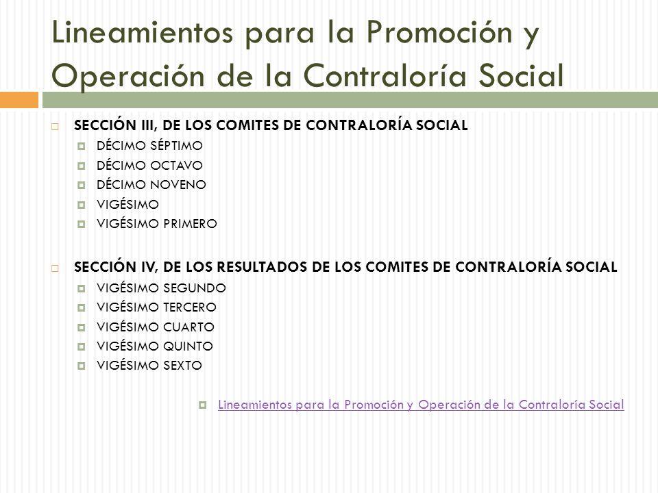 Lineamientos para la Promoción y Operación de la Contraloría Social SECCIÓN III, DE LOS COMITES DE CONTRALORÍA SOCIAL DÉCIMO SÉPTIMO DÉCIMO OCTAVO DÉCIMO NOVENO VIGÉSIMO VIGÉSIMO PRIMERO SECCIÓN IV, DE LOS RESULTADOS DE LOS COMITES DE CONTRALORÍA SOCIAL VIGÉSIMO SEGUNDO VIGÉSIMO TERCERO VIGÉSIMO CUARTO VIGÉSIMO QUINTO VIGÉSIMO SEXTO Lineamientos para la Promoción y Operación de la Contraloría Social