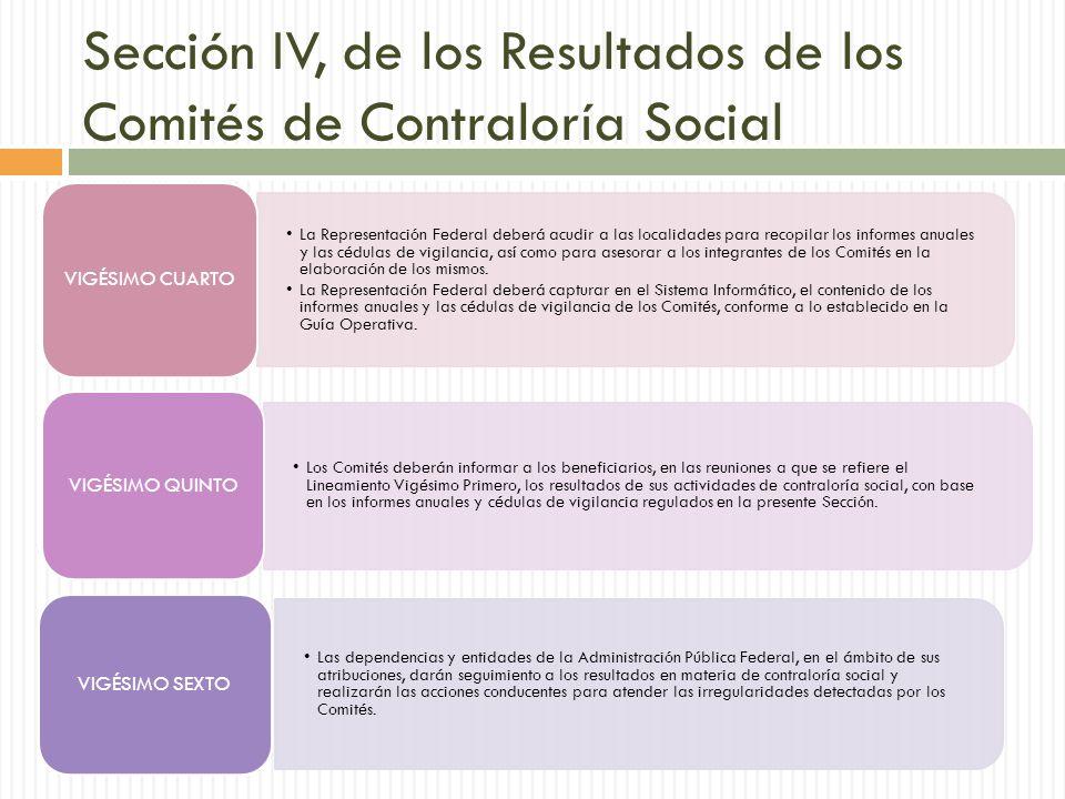 Sección IV, de los Resultados de los Comités de Contraloría Social La Representación Federal deberá acudir a las localidades para recopilar los informes anuales y las cédulas de vigilancia, así como para asesorar a los integrantes de los Comités en la elaboración de los mismos.