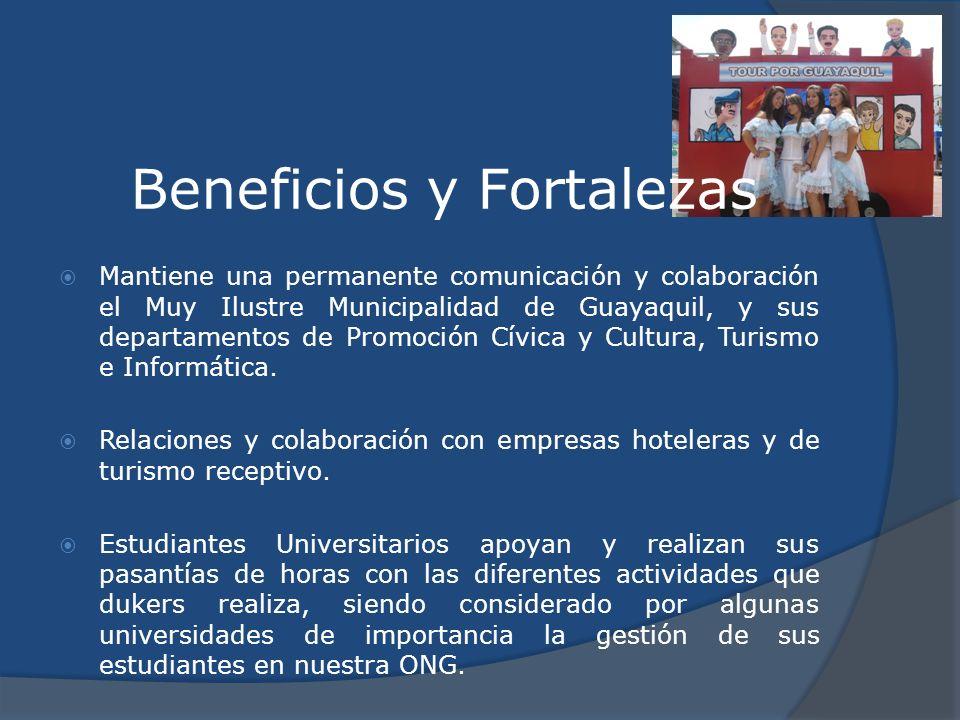 Beneficios y Fortalezas Mantiene una permanente comunicación y colaboración el Muy Ilustre Municipalidad de Guayaquil, y sus departamentos de Promoció