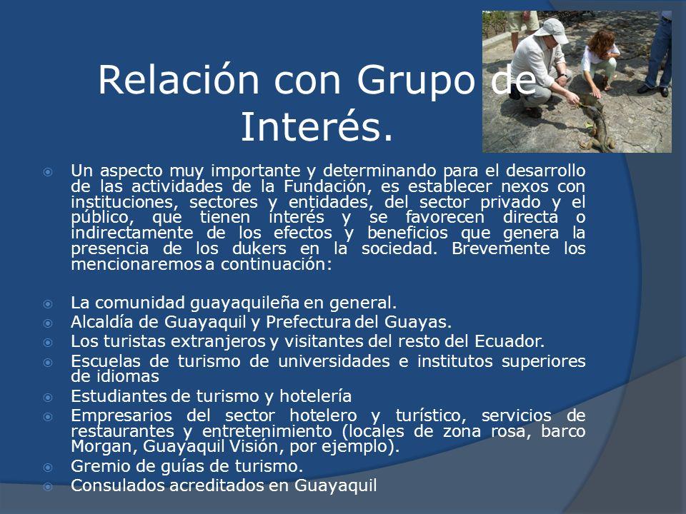 Relación con Grupo de Interés. Un aspecto muy importante y determinando para el desarrollo de las actividades de la Fundación, es establecer nexos con