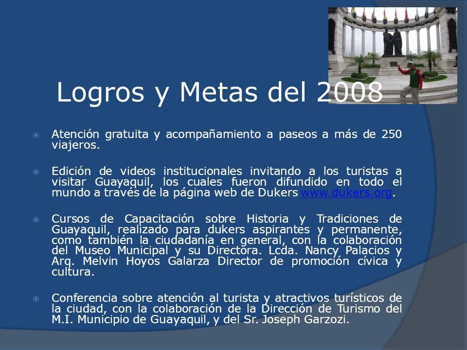 Logros y Metas del 2008 Atención gratuita y acompañamiento a paseos a más de 250 viajeros. Edición de videos institucionales invitando a los turistas