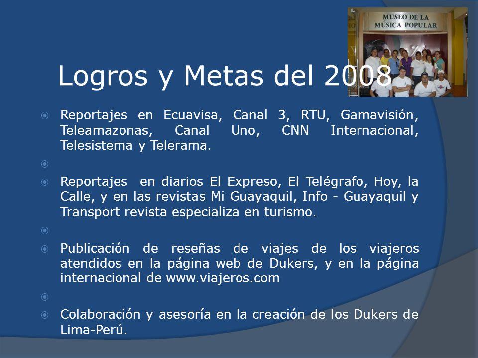 Logros y Metas del 2008 Reportajes en Ecuavisa, Canal 3, RTU, Gamavisión, Teleamazonas, Canal Uno, CNN Internacional, Telesistema y Telerama. Reportaj